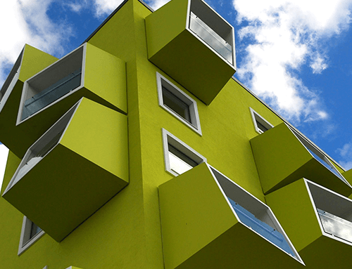 The color used in the facades of buildings